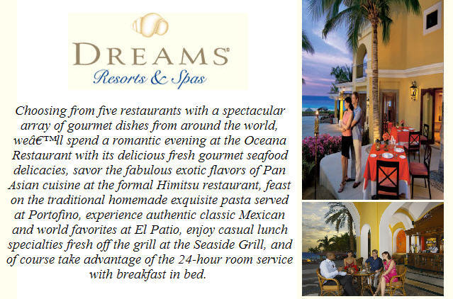 Dreams Los Cabos 8/16/11 All inclusive dining contributions